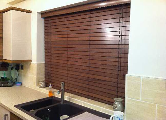 Faux Wooden venetian Kitchen blinds