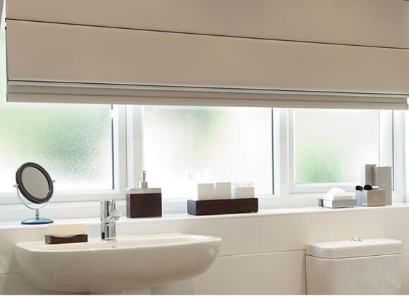 Roman Cream Bathroom Blinds