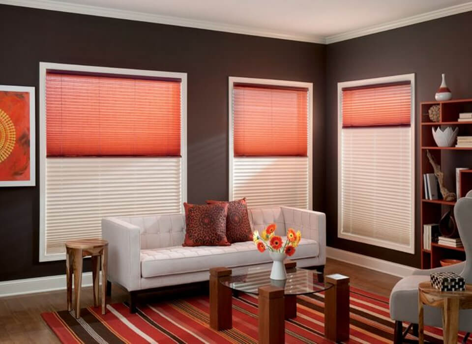 light control pleated red blinds
