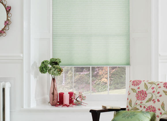 pleated green blinds