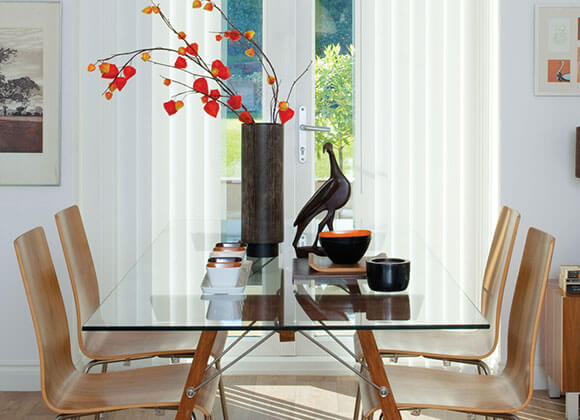vertical dining room white blinds