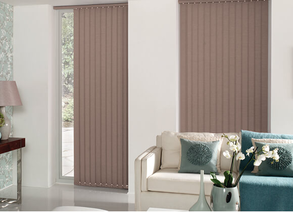 vertical living room long blinds