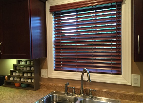 Faux Wood Kitchen Blinds Waterproof